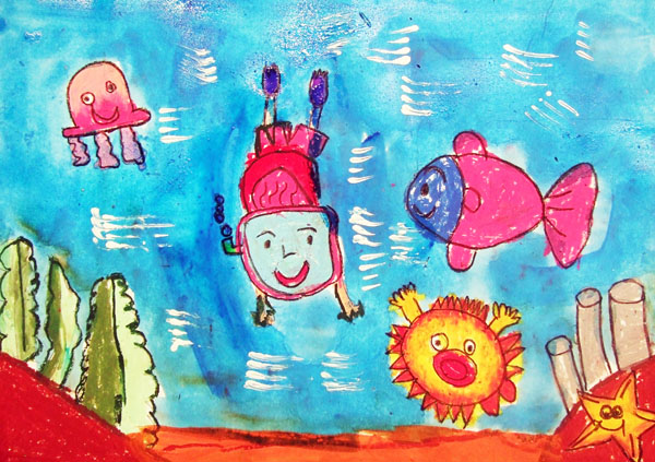 Artary Children Art Painting Diving Under the Sea Week 1 Year 2012