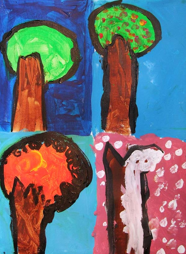 Artary Children Art Painting Four Seasons Trees Week 1 Year 2012