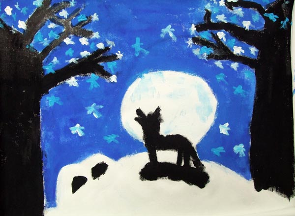 Artary Children Art Painting Howling Wolf Week 1 Year 2012