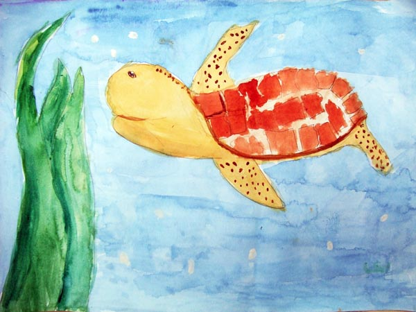Artary Children Art Painting Turtle Paddle - Watercolour Week 2 Year 2012