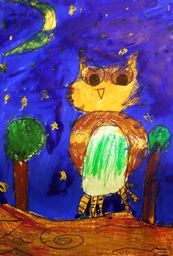 Artary Children Art Painting Owl on a Starry Night Week 3 Year 2012