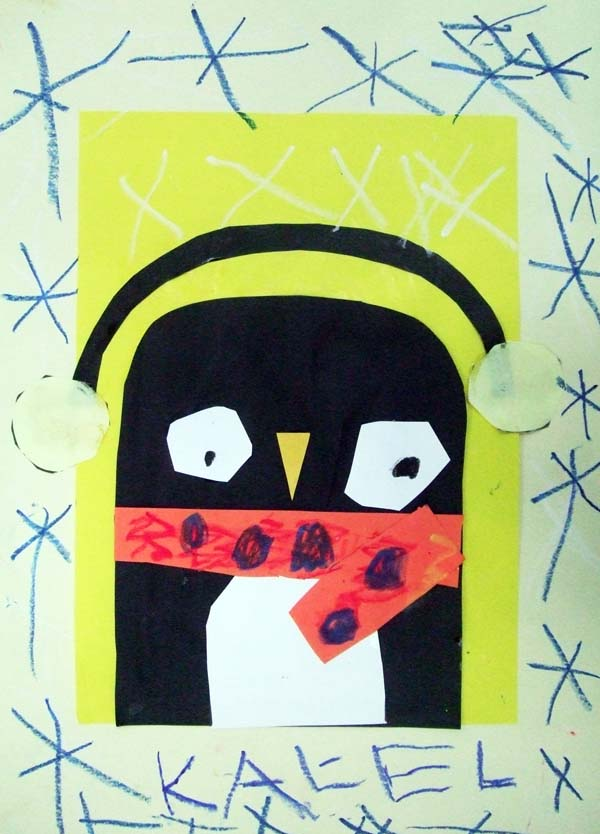 Artary Children Art Painting Snowy Penguin Week 3 Year 2012