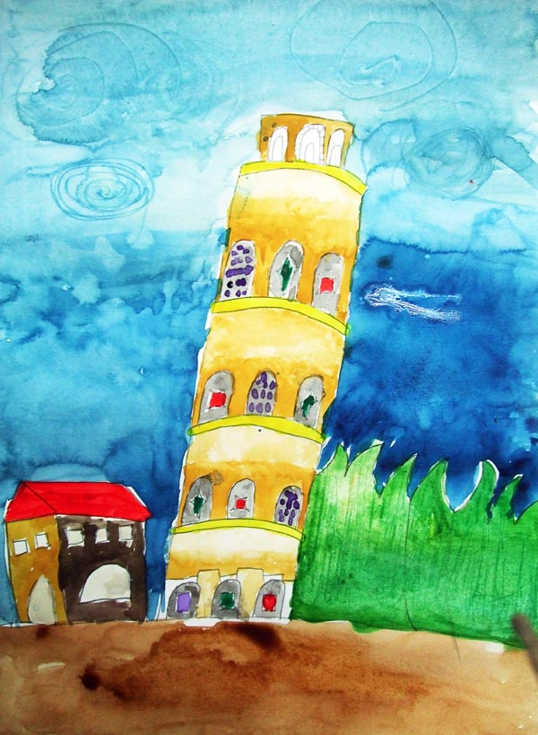 Artary Children Art Painting Leaning Tower of Pisa - Watercolour Week 3 Year 2012