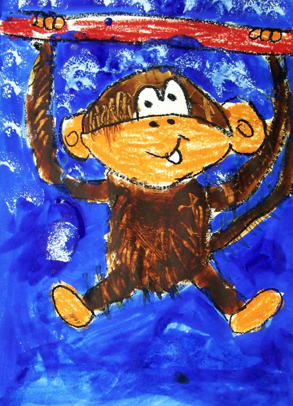 Artary Children Art Painting Furry Monkey Week 4 Year 2012