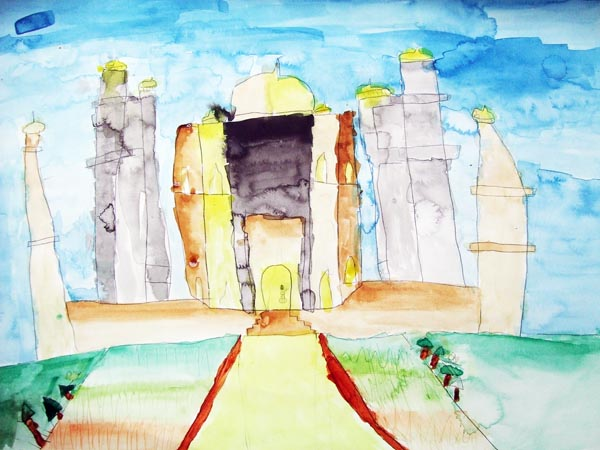 Artary Children Art Painting Taj Mahal - Watercolour Week 4 Year 2012