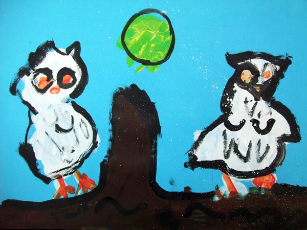 Artary Children Art Painting Enchanting Owls Week 6 Year 2012