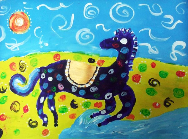 Artary Children Art Painting Hippie Horse Week 6 Year 2012