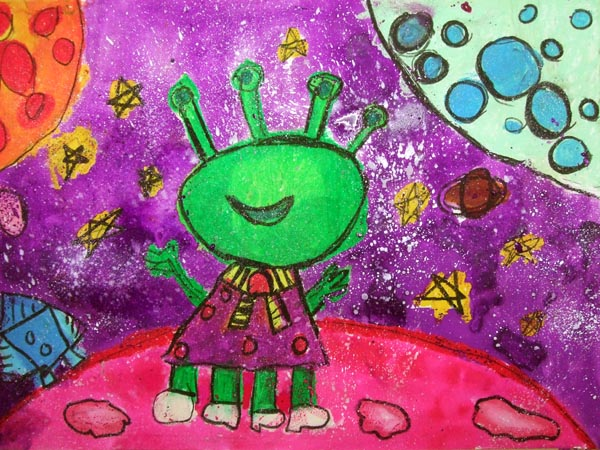 Artary Children Art Painting My Alien Friend Week 7 Year 2012