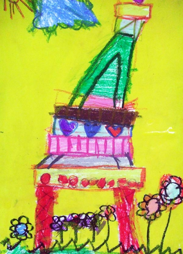Artary Children Art Painting Eiffel Tower on Pastels Week 8 Year 2012
