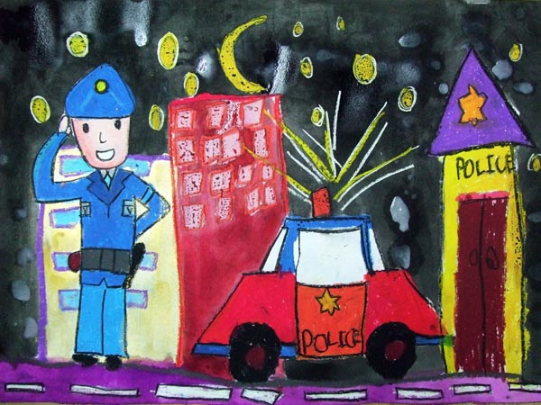 Artary Children Art Painting Good Day Mr Policeman! Week 11 Year 2012