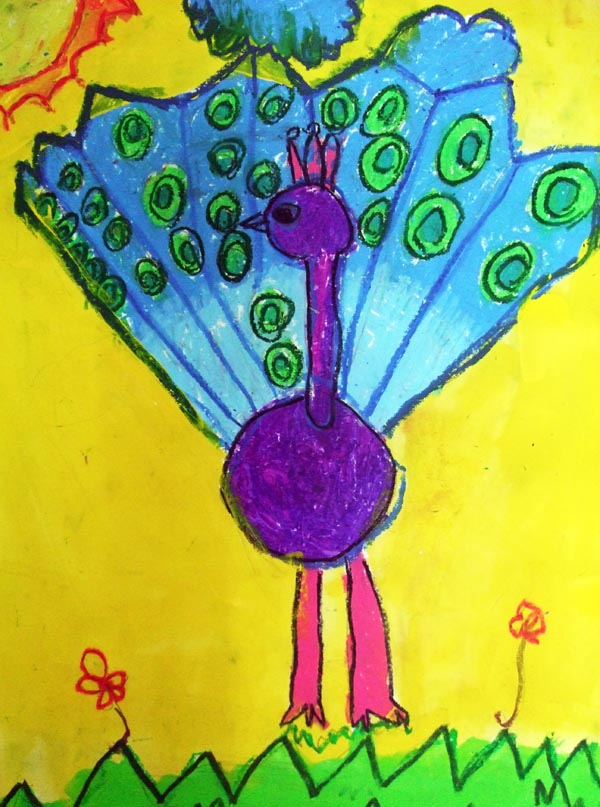 Artary Children Art Painting Proud as a Peacock Week 12 Year 2012