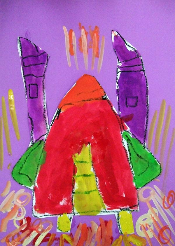 Artary Children Art Painting Launch My Rocket! Week 5 Year 2012