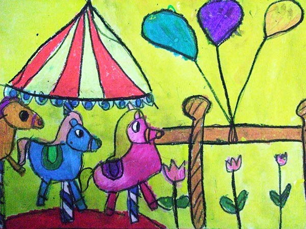 Artary Children Art Painting Carnival Carousel Week 13 Year 2012