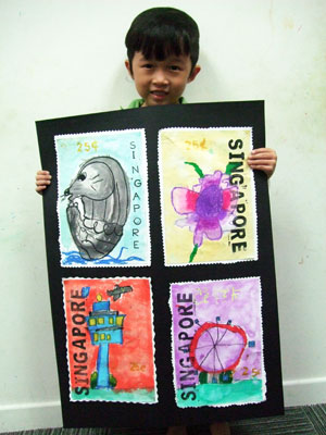 Artary Children Art Painting Singapore Stamp Collections II Week 34 Year 2012