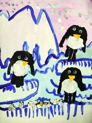 Artary Children Art Painting Antarctic Hand Printed Penguin  Week 35 Year 2012