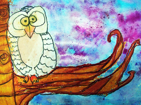 Artary Children Art Painting Snowy Owl  Week 36 Year 2012