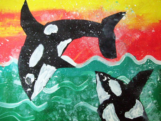 Artary Children Art Painting Whale Collage Week 37 Year 2012