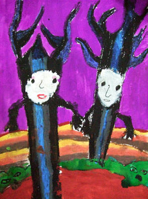 Artary Children Art Painting Scary Halloween Trees Week 40 Year 2012