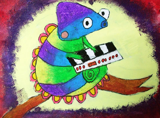 Artary Children Art Painting Sassy Chameleon  Week 44 Year 2012